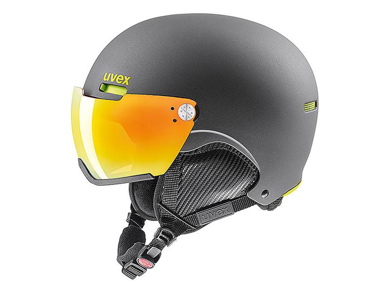 Kask z przyłbicą szybą Uvex Hlmt 500 Visor Gun Lime Mat Litemirror Orange 2019 najlepsza cena